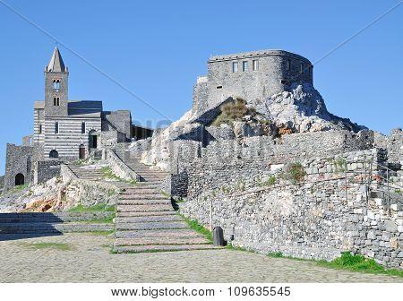 the Church of Portovenere at italian Riviera called San Pietro,Liguria,Italy