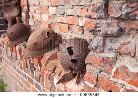Old Rusty Military Helmets
