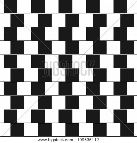 Optical illusion - parallel lines made from black and white pillows