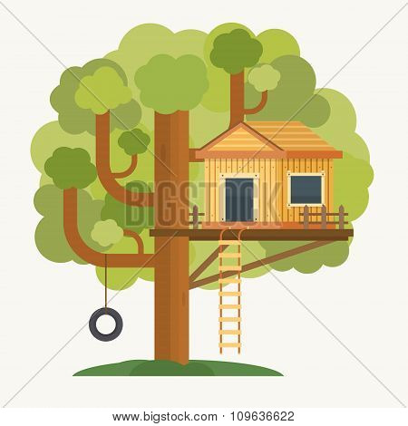 Tree house. House on tree for kids.