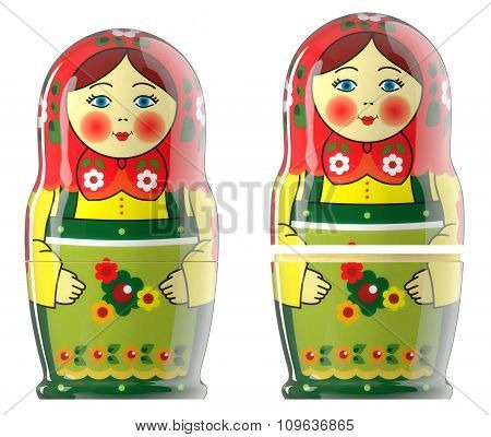 Matreshka doll isolated on white 3d
