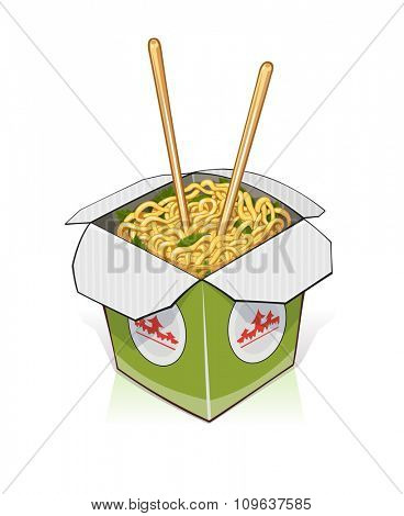 Fast food. Chinese noodles in take out container. vector illustration. Isolated on white background. Transparent objects used for lights and shadows drawing.