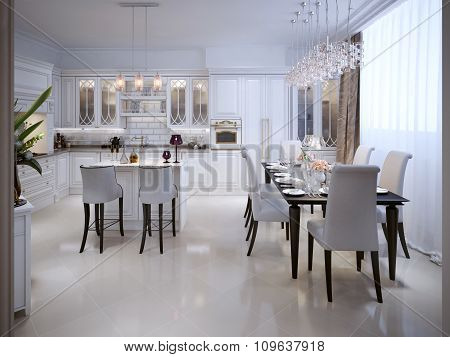 White Kitchen With Dining Table In The Arab Style.