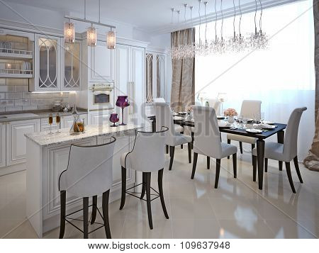 The Kitchen-dining Room In A Classical Style.
