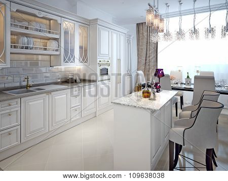 Luxury White Kitchen With A Bar In A Classic Style.