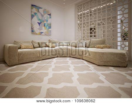 Luxurious Beige Sofa In Modern Style.