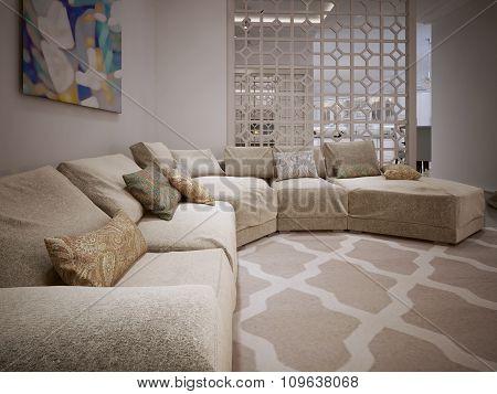 Large Corner Sofa In A Modern Style.