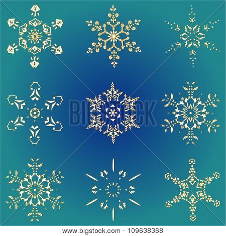 Set hand-drawn doodles gold colored snowflake Festive seamless pattern