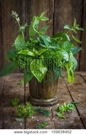 Aromatic Herbs. Basil, Mint, Parsley, Dill And Melissa.