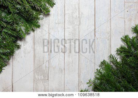 Card Concept Fir On Wooden Background