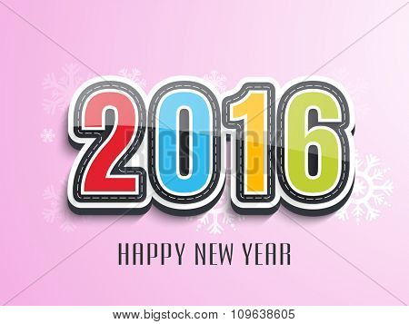 Creative colorful text 2016 on snowflakes decorated shiny pink background for Happy New Year celebration.