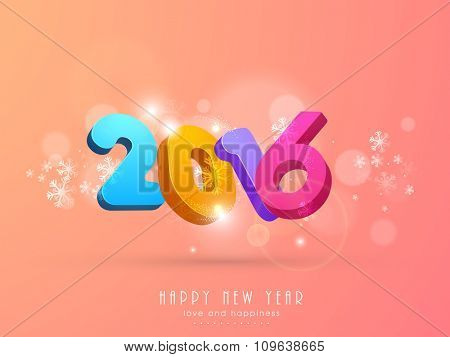 Colorful 3D text 2016 on snowflakes decorated shiny background for Happy New Year celebration.