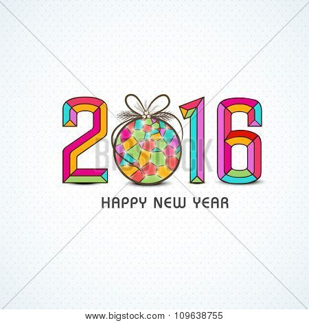 Stylish colorful text 2016 with creative glossy Xmas Ball on shiny background for Happy New Year celebration.
