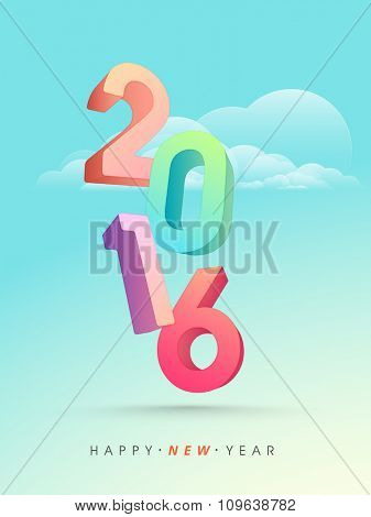 Colorful 3D text 2016 on cloudy background for Happy New Year celebration.