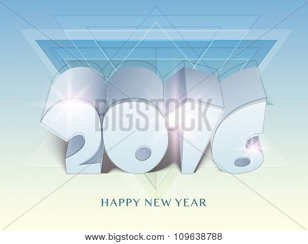 Creative glossy 3D text 2016 on abstract background for Happy New Year celebration.
