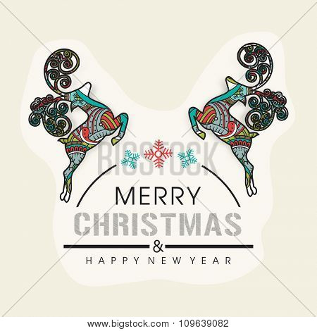 Merry Christmas and Happy New Year celebrations greeting card design with floral decorated colorful Reindeers.