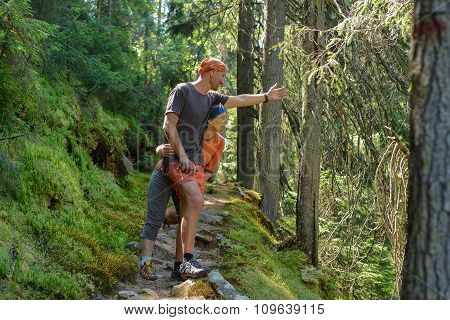 Hiker's Couple In Pine Forest