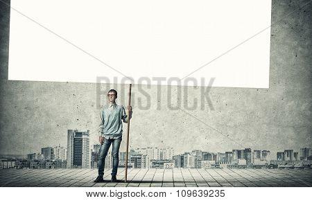 Boy with placard
