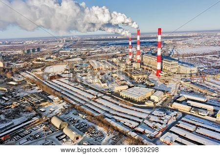 City power plant in winter season. Tyumen. Russia