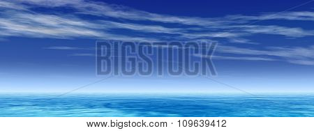 High resolution concept conceptual sea or ocean water waves and sky cloudscape exotic or paradise background banner
