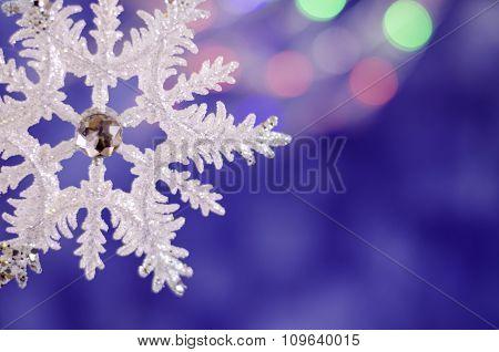 Shiny Christmas Snowflake Close-up.