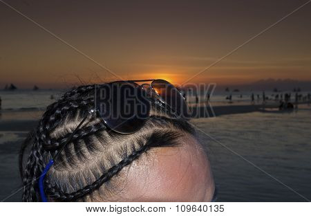 Hairbraided Girl During Sunset