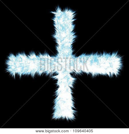 Concept or conceptual 3D blue and white ice frost or frozen grass cool font part of collection isolated on black background
