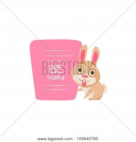 Cute Bunny with a sign for text