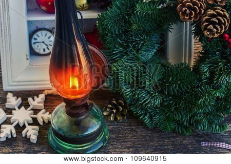 vintage lantern with christmas wreath