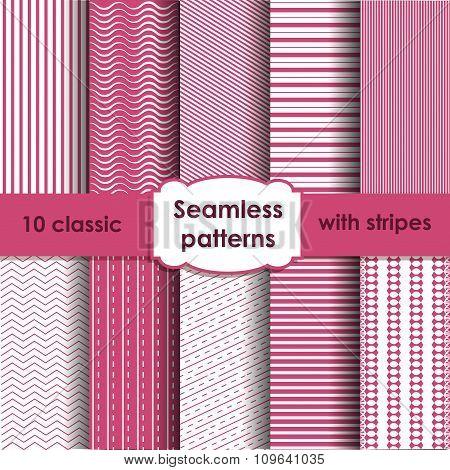 Set Of Classic Pink Seamless Striped Patterns