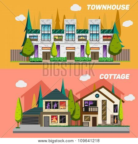 Street with townhouses and country houses. Set of elements for the construction urban landscapes. Ve