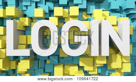 Extruded Login Text With Blue Abstract Backround Filled With Cubes