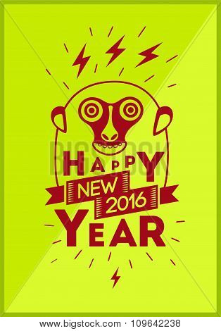 Happy New Year 2016! Christmas greeting card design with funny monkey. Vector illustration.