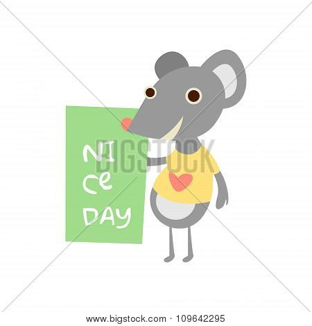 Cute mouse with a sign for text