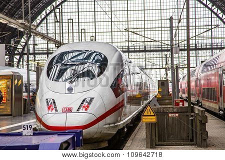 Intercity Express (ice) Train Of The Deutsche Bahn (db) At The Frankfurt Central Station