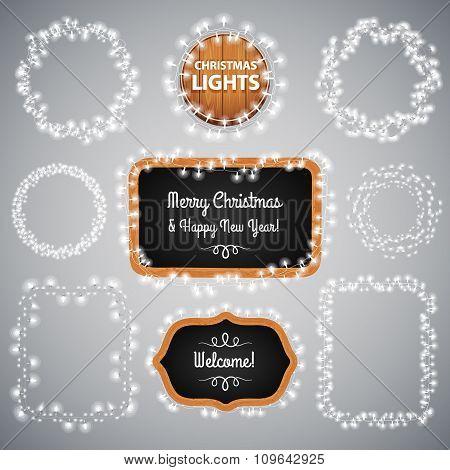 White Christmas Lights on Blackboard