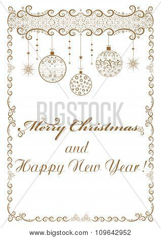 Golden frame christmas background with baubles and snowflakes vector illustration