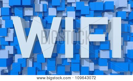 Extruded Wi-fi Text With Blue Abstract Backround Filled With Cubes