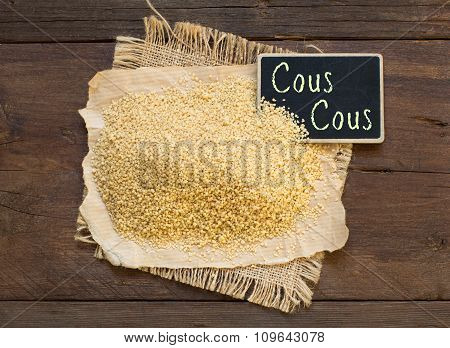 Whole Wheat Couscous With A Small Chalkboard