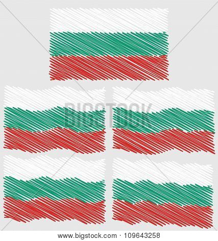 Flat And Waving Hand Draw Sketch Flag Of Bulgaria