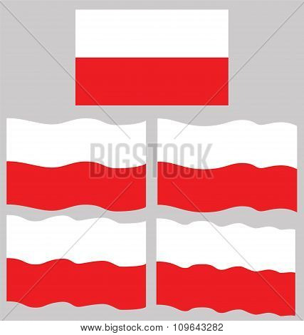 Flat And Waving Flag Of Poland