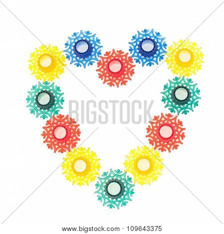 Colorful snowflakes toys in heart shape