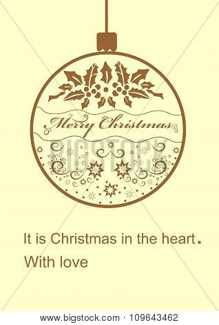 Merry Christmas greeting card with a ball