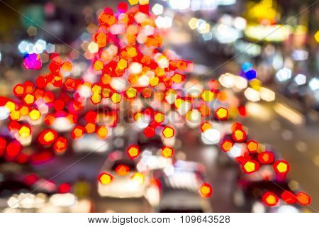 Light Traffic On Street In The City Lights Motion Blur And Abstract Background Bokeh