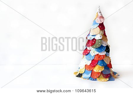 Christmas tree made from fabric