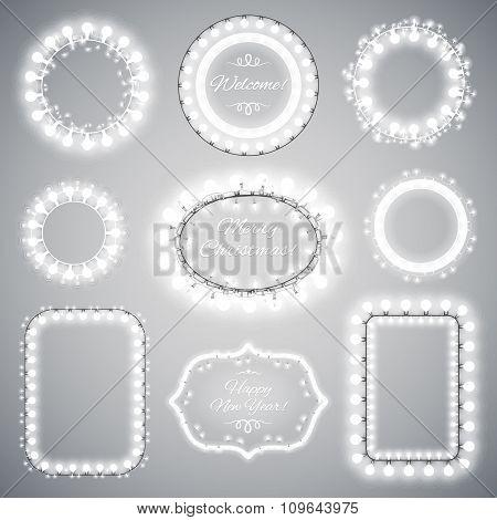 White Christmas Illumination Frames