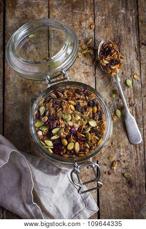 Granola In  Jar, Rustic Background,