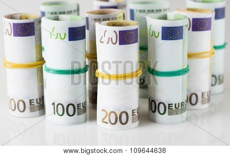 Euro banknotes in  tubes