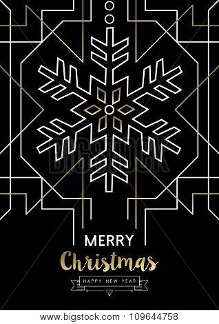 Merry Christmas New Year Snowflake Gold Deco Retro