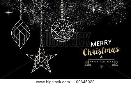 Merry Christmas New Year Decoration Outline Gold